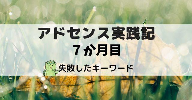 アドセンス実践記7か月目