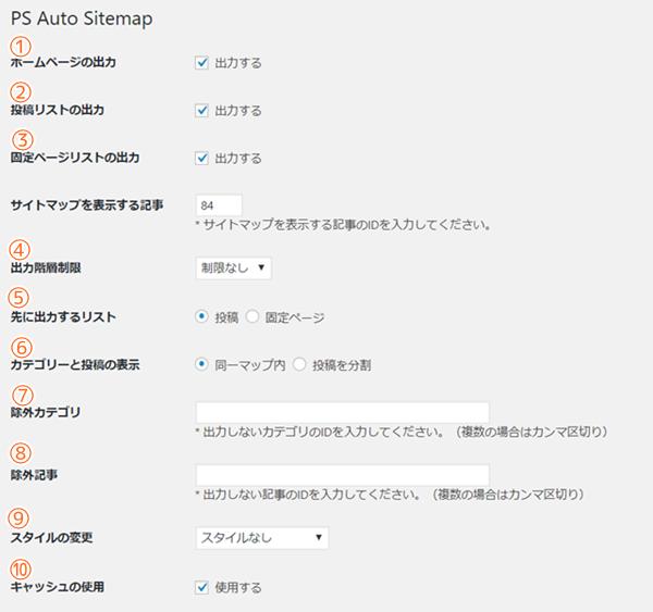 PS auto sitemapの各項目解説